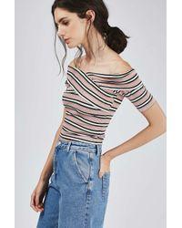 TOPSHOP - Pink Tall Stripe Bardot Crop - Lyst