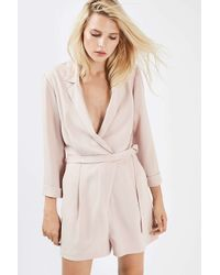 TOPSHOP - Multicolor Tall Tailored Wrap Playsuit - Lyst