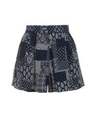 TOPSHOP - Blue Tall Bandana Print Shorts - Lyst