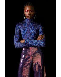 TOPSHOP Blue Cheetah Bodysuit By X Halpern