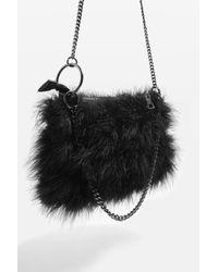TOPSHOP Black Felicia Marabou Shoulder Bag