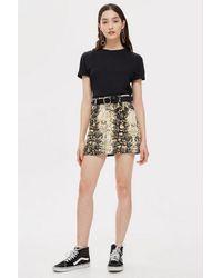 c110c6dedfc5e7 TOPSHOP - Multicolor Snake Print Denim Skirt - Lyst