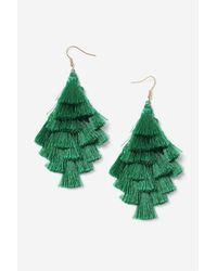 TOPSHOP - Green Multi-tassel Chandelier Earrings - Lyst