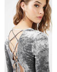 TOPSHOP - Gray Lace Up Velvet Bodycon Dress - Lyst