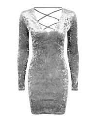 TOPSHOP | Gray Lace Up Velvet Bodycon Dress | Lyst