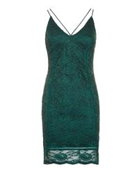 TOPSHOP | Green Strappy Plunge Lace Camisole Dress | Lyst