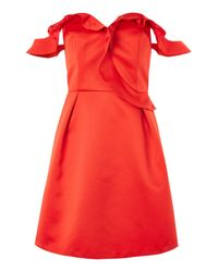 TOPSHOP | Red Ruffle Bardot Mini Dress | Lyst