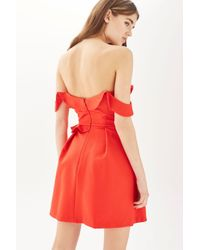 TOPSHOP | Red Ruffle Bardot Mini Dress | Lyst