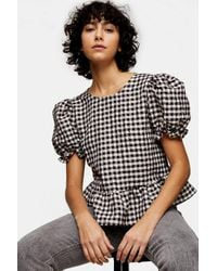 TOPSHOP Pink Check Bow Back Puff Blouse