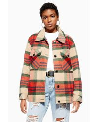 TOPSHOP Orange Check Shacket With Wool