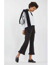TOPSHOP | Black Frill Hem Trousers | Lyst