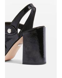 TOPSHOP - Gabriella Black Cross Strap Slingback Heel Shoes - Lyst