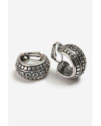 TOPSHOP - Metallic Thick Engraved Clip On Hoop Earrings - Lyst