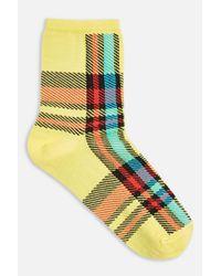 TOPSHOP - Yellow Bright Tartan Socks - Lyst