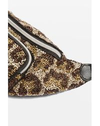 TOPSHOP Multicolor Leopard Beaded Bumbag
