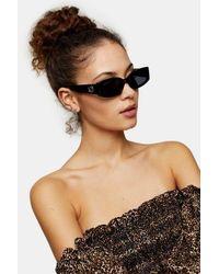 TOPSHOP Black Hera Inlay Rectangle Sunglasses