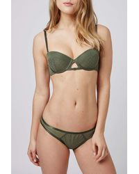 TOPSHOP - Green Mesh Balconette Bra - Lyst
