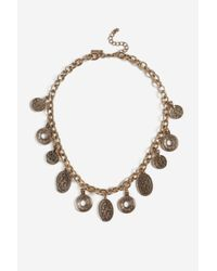 TOPSHOP - Metallic Vintage Coin Collar Necklace - Lyst