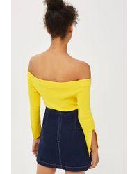 TOPSHOP | Blue Moto A-line Denim Skirt | Lyst