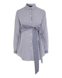 TOPSHOP | Blue Maternity Tie Front Stripe Shirt | Lyst