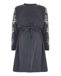 TOPSHOP   Blue Maternity Embroidered Drawstring Dress   Lyst