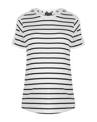 TOPSHOP - White Maternity Stripe Mesh Tee - Lyst