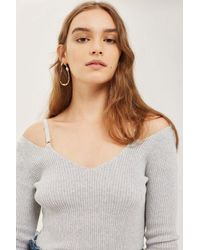 TOPSHOP - Gray Knitted Strap Detail Top - Lyst