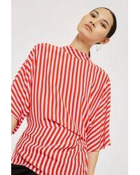 TOPSHOP - Red Stripe Tuck Top - Lyst