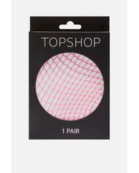 TOPSHOP - Pink Medium Fishnet Tights - Lyst