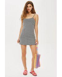 TOPSHOP - Multicolor Gingham Mini Pinafore Dress - Lyst