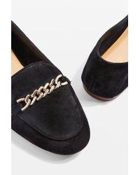 TOPSHOP Black Loco Chain Trim Suede Loafers