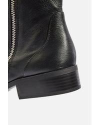 TOPSHOP - Black Kick Leather Boots - Lyst