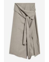 TOPSHOP - Gray wrap Pinstripe Skirt By Boutique - Lyst