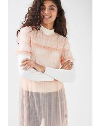 TOPSHOP Pink Tulle Ruche Tunic