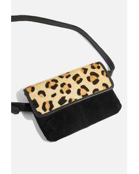 TOPSHOP Multicolor Leopard Print Leather Bumbag