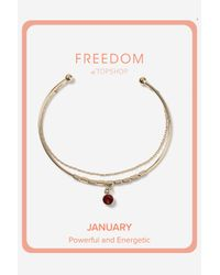 TOPSHOP | Metallic Garnet January Birthstone Bracelet | Lyst