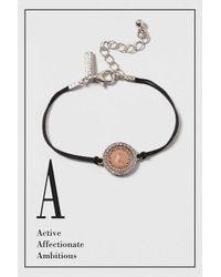 "TOPSHOP - Black ""a"" Initial Bracelet - Lyst"
