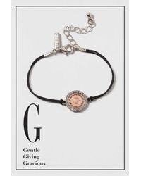 "TOPSHOP - Black ""g"" Initial Bracelet - Lyst"
