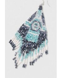 TOPSHOP - Blue Triangle Beaded Drop Earring - Lyst