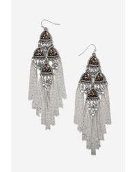 TOPSHOP - Metallic Beaded Chandelier Earrings - Lyst