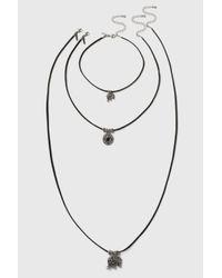 TOPSHOP - Black Elephant Pendant Choker And Necklace Set - Lyst