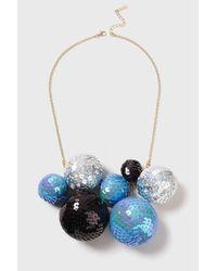 TOPSHOP - Blue Large Sequin Ball Necklace - Lyst