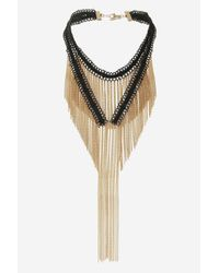 TOPSHOP - Black Drape Chain & Tassel Choker Necklace - Lyst