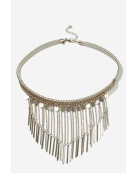 TOPSHOP   Metallic Chain Drop Collar Necklace   Lyst