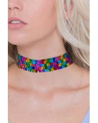 Jaded London - Multicolor Rainbow Sequin Choker Necklace By - Lyst