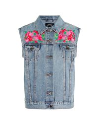 TOPSHOP | Blue Embroidered Denim Vest By Kuccia | Lyst