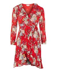 Wyldr | Wicked Games Red Oriental Print Wrap Dress By | Lyst
