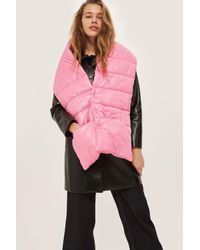 TOPSHOP - Pink Puffer Scarf - Lyst