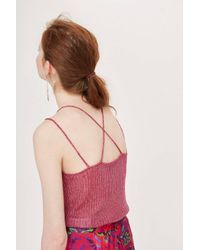TOPSHOP - Pink Metal Ribbed Strappy Top - Lyst