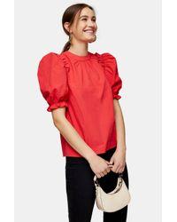 TOPSHOP Red Mandarin-collar Cotton-poplin Top
